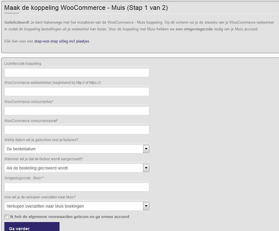 Scherm 2 installatie WooCommerce - Muis koppeling